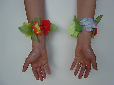 Multi Color Hawaiian Flower Bracelet for Dress Up Party