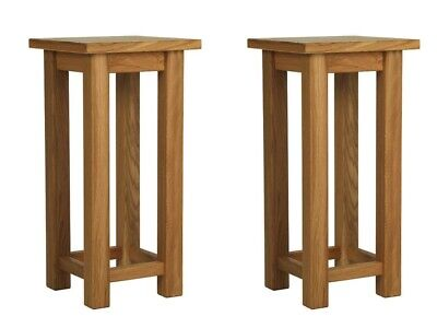 Pair of High Quality Tall Slim Oak Lamp Side Coffee Tables Conservatory Hallway