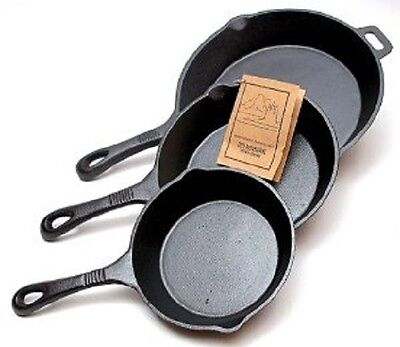 Old Mountain Cast Iron Pre Seasoned 3 Piece Skillet Set