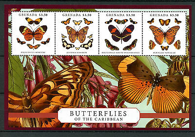 Grenada 2013 MNH Butterflies of Caribbean 4v Sheetlet Insects Heliconius Stamps