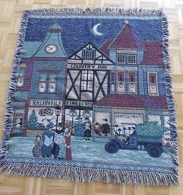 Tapestry Throw Blanket Wall Hanging Afghan Winter Night Scene Christmas 48 x 44