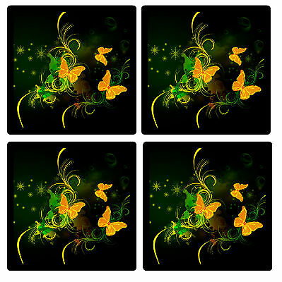 Orange Butterfly Abstract - Set Of 4 Fun Coasters - Gift/ Present - Brand New