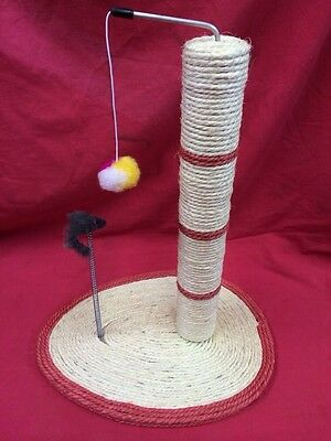 Cat Kitten Scratching Sisal Post And Spring MouseToy Rope Cream and Red