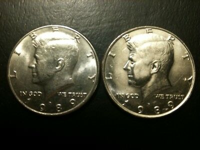 1989 P&D Kennedy Half Dollar Set AU/BU Clad no Silver 50 Cent About UNC MS Mint