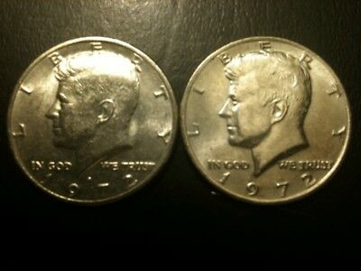 1972 P&D Kennedy Half Dollar Set AU/BU Clad no Silver 50 Cent About UNC MS Mint