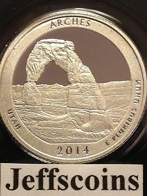2014 S Silver Proof ARCHES National PARK QUARTER UTAH 90% ATB Early Release 25¢