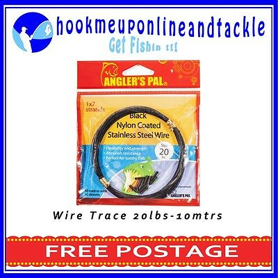 2x20lbs x 10mt Roll 1x7Strand Clear Nylon Coated Stainless Steel Wire 10 Sleeves