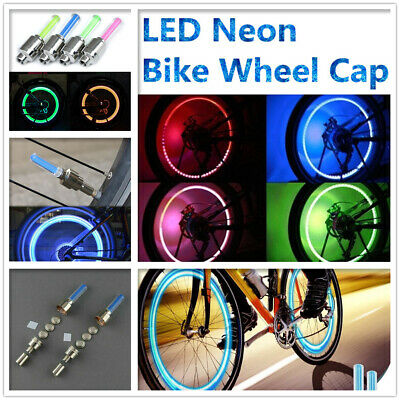 2 LED Neon Bike Wheel Cap Tire Valve Dust Cap Spoke Flash Lights Safety Bicycle