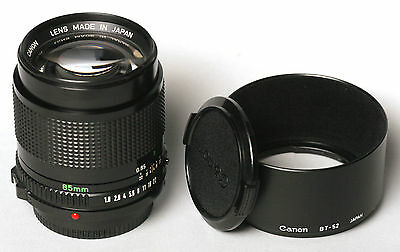 Canon FD 85mm f/1.8 lens with hood & Box. +++++MINT+++++