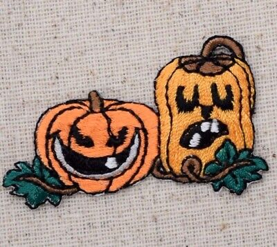small halloween two pumpkins jack o lantern iron on appliqueembroidered patch
