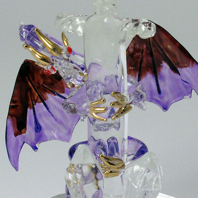 Glass Dragon Figurine with Sword Glass Base Fantasy Gothic Mystical Dungeons