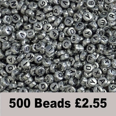 500 x 7mm Silver Mixed Letter Alphabet Beads