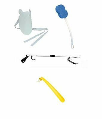 Easy Reach Kit Grabber, Sock Puller, Shoe Horn, Bath Sponge And Dressing Stick.