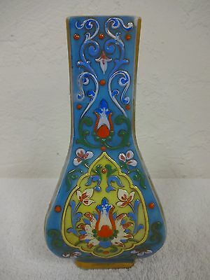"""30% OFF! Persian enamel case-glass vase, bright and full of color  6-5/8"""" tall"""