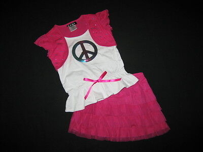 """NEW """"SHINY RAINBOW PEACE"""" Skirt Girls Clothes 4 Spring Summer Boutique Kids"""