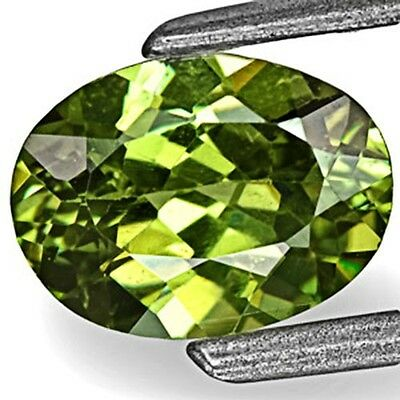 0.83-Carat Deep Yellow Green Eye-Clean Namibian Demantoid Garnet 6.86 x 5.08 mm