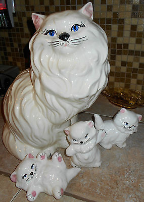 VTG Ceramic Cat & Kittens~4 pieces~White Long Hair Kitties~Cat Lover's~HUGE~14""