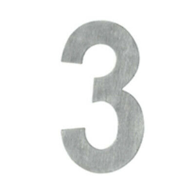 Delf Door House Number # 3 SSA653 65mm Self Adhesive Satin Stainless Steel