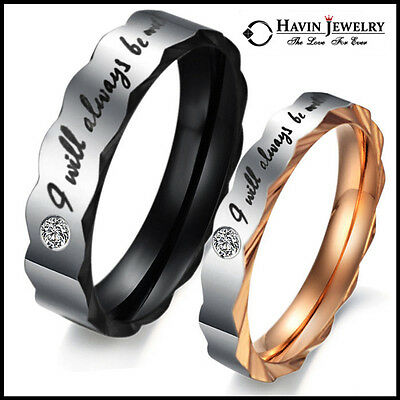 Couple Stainless Steel Ring Wedding Band Engagement Set Promise Love 4 ever Xmas
