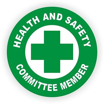 5x Health And Safety Committee Member Hard Hat DecalsStickersHelmet Labels