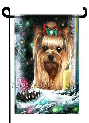 YORKIE painting Christmas GARDEN FLAG Dog Yorkshire Terrier Holiday ART
