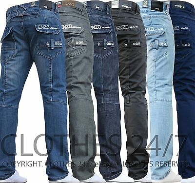 Bnwt New Mens Enzo Jeans Blue Designer Branded Straight Washed All Waist & Sizes