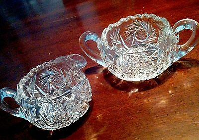BEAUTIFUL ANTIQUE AMERICAN BRILLIANT PERIOD CUT GLASS BOWL CREAM/SUGAR Set