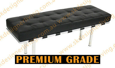 SKDL Replica Black Top Grain Leather Barcelona Lounge Bench