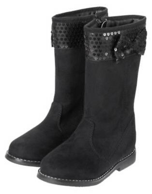 GYMBOREE BACK TO BLOOMS BLACK MOTO SPARKLE DOT BUCKLE BOOTIES 11 12 13 1 2 3 NWT