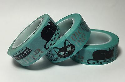 Washi Tape Meow Purr Cat 15Mm Wide X 10Mtr Roll Plan Scrap Craft Wrap