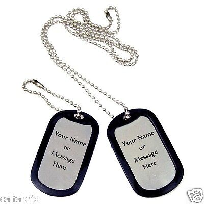 2 Military Dog Tags Custom Engraved Steel GI Identification Tags with Silencers