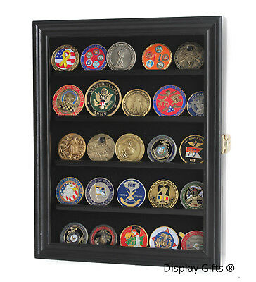LOCKABLE Challenge Coin Casino Chip Display Case Rack Wall Cabinet, COIN30-BLA