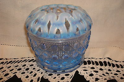 """Imperial Sugar Cane Opalescent Blue 3 1/2"""" tall, Flower Bowl, Flower Frog,1930s"""