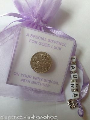 PERSONALISED LUCKY SIXPENCE GIFT 13th 18th 21st 30th 40th, 50th Birthday Lilac