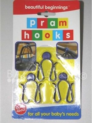 3 PACK PRAM HOOKS FOR PRAMS /  BUGGIES  / PUSHCHAIRS Standard Frame Size