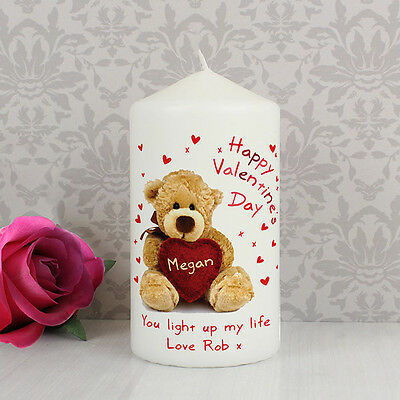 Happy Valentines Day PERSONALISED Message Candle - Gift for Him or Her