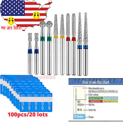 100 pcs Dental Diamond Burs 156 Types FG 1.6mm For High Speed Handpiece A+ MODEL