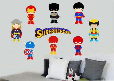 Childrens Superheroes 9pc Wall Art Vinyl Printed Stickers Super Hero Superhero