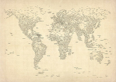 Typography World Map of Cities*FREE UK SHIPPING*