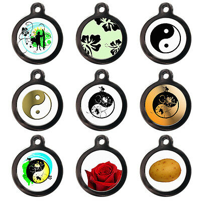 PET DOG CAT TAGS  - ID Tag Disc- Yin Yang - Rose - Engraved FREE - PERSONALISED