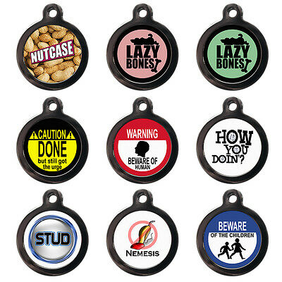 Funny Pet Dog Cat Name ID Tags For Collar - Engraved FREE - Pet Tags-Dog Name ID