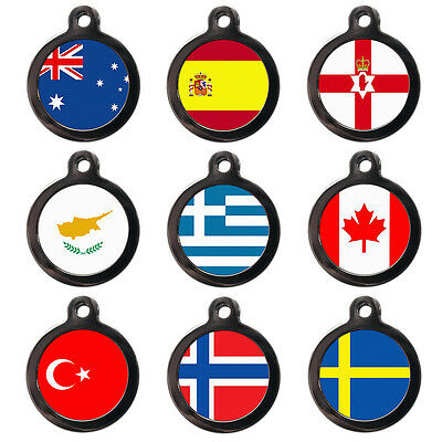 World Flags Pet Dog Cat Name ID Tag For Collar - Engraved FREE - Flag Pet Tags