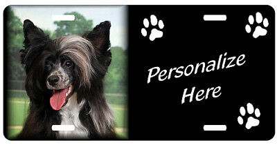 Chinese Crested  puff    Personalized Pet License Plate