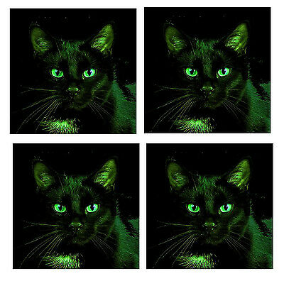 Night Cat - Coasters - Set Of Fun Coasters - Gift/ Present/ Birthday - New