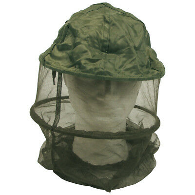 Mosquito Midge Head Protective Net Travel Camping 2 Metal Rings Micro Mesh Olive
