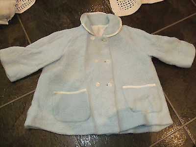 Vintage Original Blue Baby Matinee Sleep Jacket Dated 1960's By Courtelle Vgc