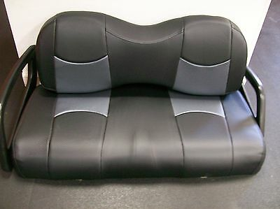 Club Car Precedent Golf Cart Deluxe Seat Covers-Front(Blk/Gry btm CF)