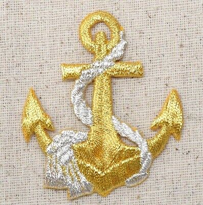 Gold Anchor - Silver Rope - Nautical - Iron on Applique/Embroidered Patch