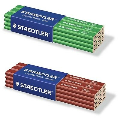 Staedtler Carpenter Pencils 12 pack MEDIUM & HARD OR MIX - Lasting Top Quality!