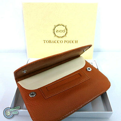 Brown Genuine Leather Cigarette Tobacco Pouch Bag Case Roller Rolling Paper
